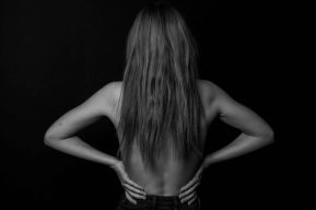 black and white body image from behind