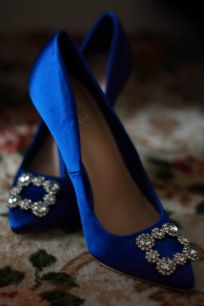 Blue bride shoes inspired by sex and the city