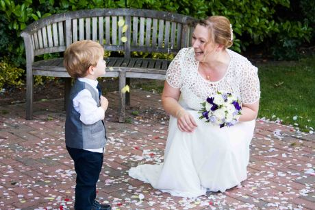 Bride with little boy