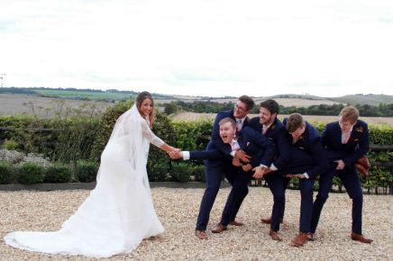 Bride vs groomsmen for the groom