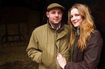 Close up couple portrait on the farm in wiltshire