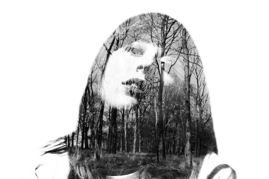 Multiple exposure self portrait with landscape