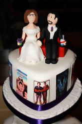 Film themed wedding cake topper