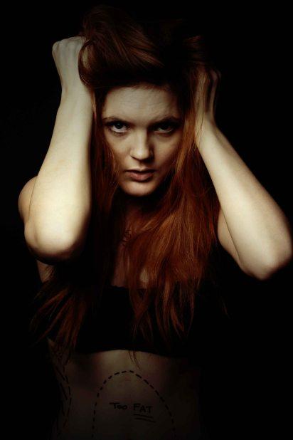 Eerie and dark studio portrait