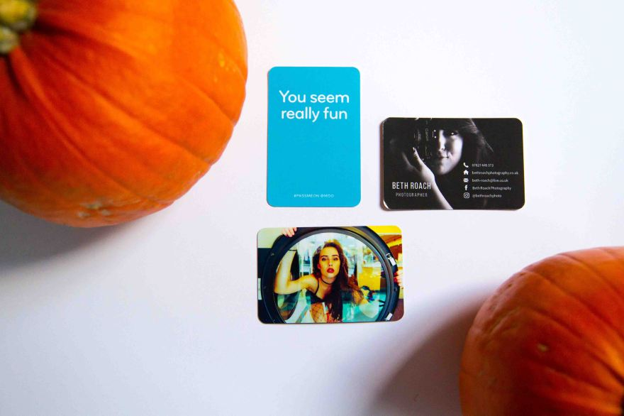 Moo.com photography business cards with pumpkins