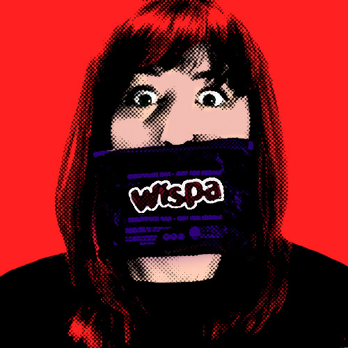 pop art self portrait with wispa wrapper off mouth