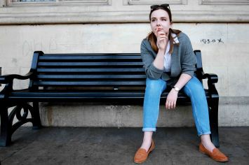 hipster portrait of model on a bench
