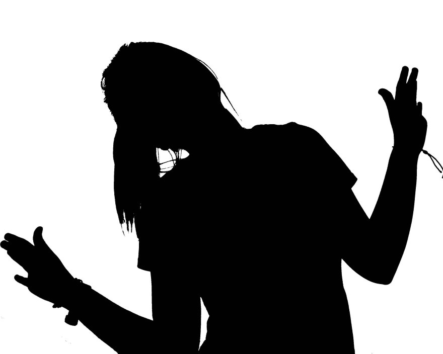 silhouette portrait of woman waving