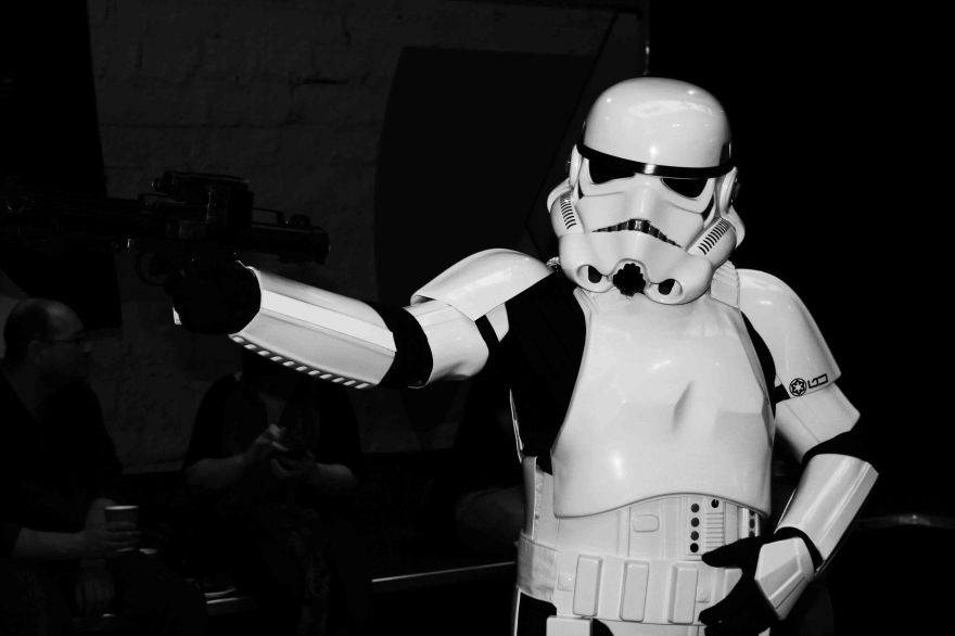 Black and white storm trooper posing