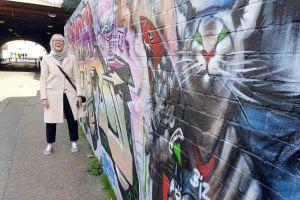 Urban safari portrait with graffiti wall