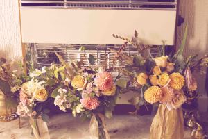 Wild wedding bouquets with a vintage filter