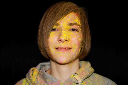 close up Powder paint portrait