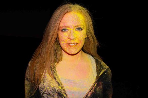 Powder paint portrait with yellow paint