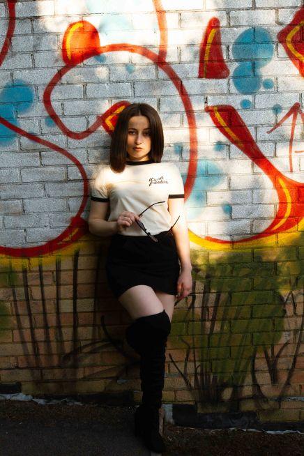Natural Light full length portrait with graffiti backdrop