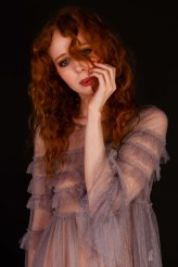 Portrait of ginger model in studio